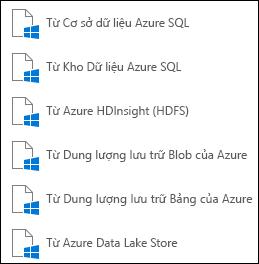 Nhận dữ liệu từ Microsoft Azure