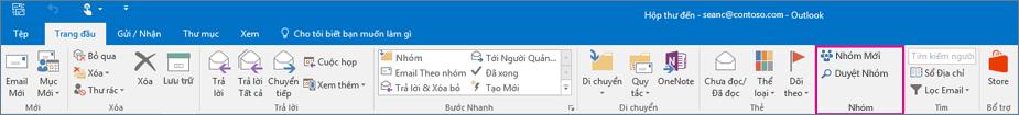 Các tùy chọn nhóm trên dải băng Outlook chính