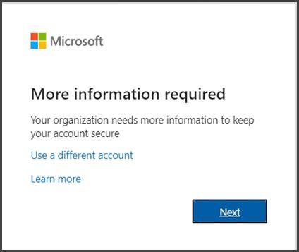 Một hộp thoại cho biết bạn cần thêm thông tin để hoàn tất việc đăng nhập của mình