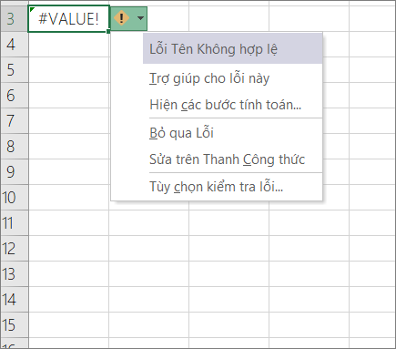 Danh sách thả xuống xuất hiện bên cạnh biểu tượng giá trị theo dõi