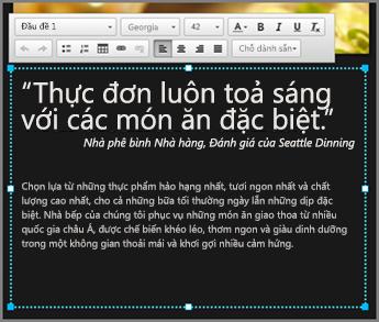 Ví dụ về thân văn bản tại thiết kế GoDaddy