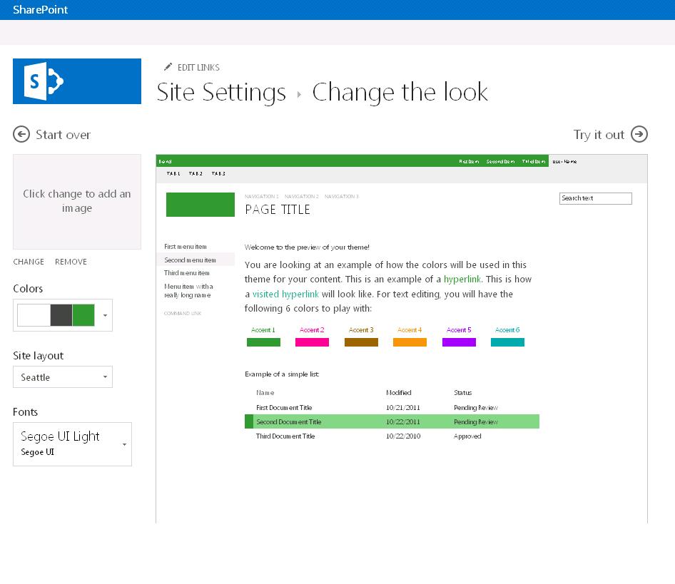 Thay đổi màu sắc, bố trí và chủ đề của site phát hành SharePoint