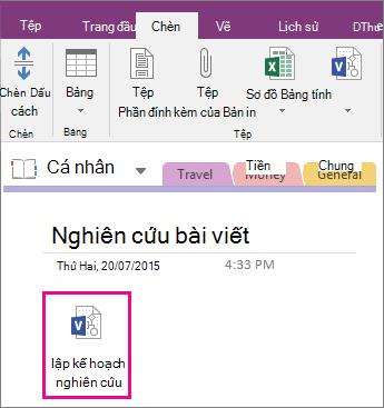 Ảnh chụp màn hình về cách đính kèm tệp Visio vào một trang trong OneNote 2016.