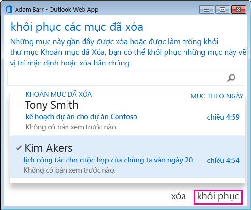 Hộp thoại Phục hồi các mục đã xóa trong Outlook Web App