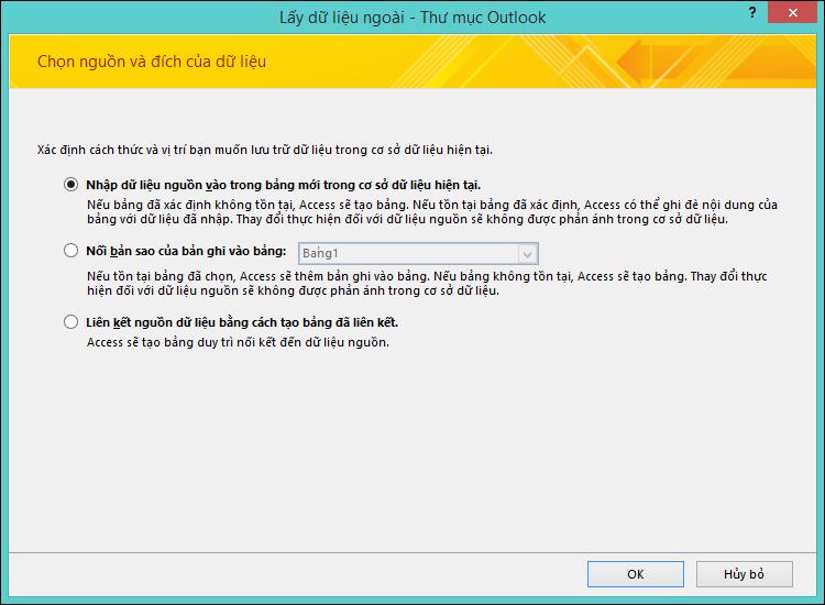 Chọn nhập, gắn thêm hoặc liên kết tới một thư mục Outlook.