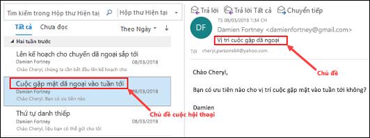 Outlook nhóm thư theo hội thoại chủ đề trong danh sách thư.