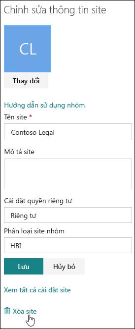 Pa-nen thông tin site SharePoint