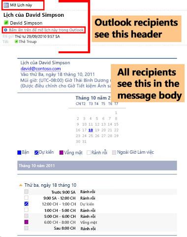 Ví dụ về lịch đã nhận bằng cách dùng tính năng Lịch Email