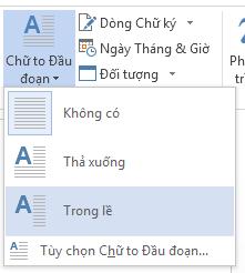 Trong menu Chữ to Đầu đoạn, chọn Trong lề để thả chữ to đầu đoạn trong lề chứ không phải trong đoạn văn.