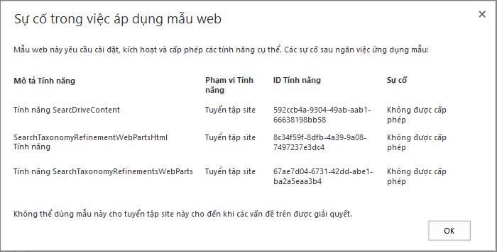 Ảnh chụp màn hình của thông báo lỗi hiển thị lỗi mà bạn có thể gặp nếu các tính năng không có sẵn ngăn tạo site trong SharePoint Online.