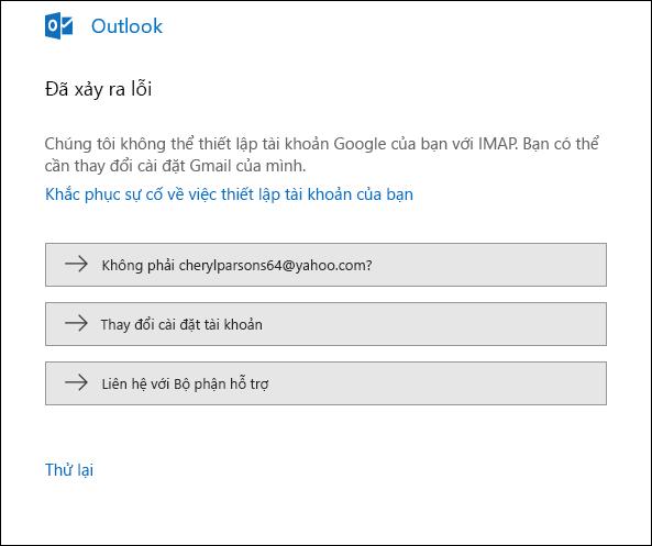 Đã xảy ra lỗi khi thêm tài khoản email vào Outlook.