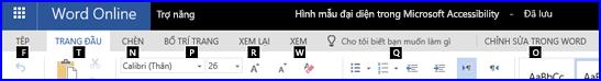 Dải băng trong dạng xem Chỉnh sửa WordOnline hiển thị các phím Truy nhập
