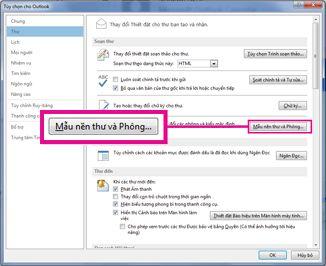 Lệnh Mẫu nền thư và Phông chữ trong hộp thoại Tùy chọn Outlook