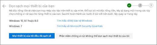 Ảnh chụp màn hình của màn hình dọn sạch tất cả các thiết bị trên website OneDrive