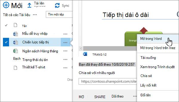 Tùy chọn mở > mở trong menu ứng dụng được chọn cho một tệp Word ở dạng xem cổ điển của cổng thông tin OneDrive Online