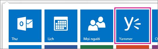 Ảnh chụp màn hình của công cụ khởi động ứng dụng Office 365 với Yammer được hiển thị