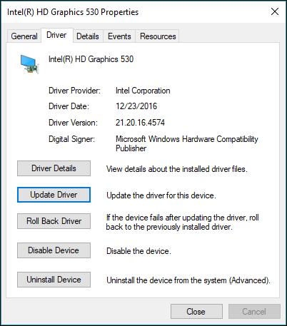 Đi tới tab trình điều khiển để cập nhật hoặc quay lui trình điều khiển thiết bị