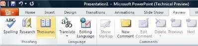 Từ điển đồng nghĩa trong tab Xem lại của Ribbon PowerPoint