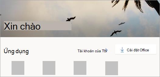 Ảnh chụp màn hình trang chủ Office.com sau khi đăng nhập