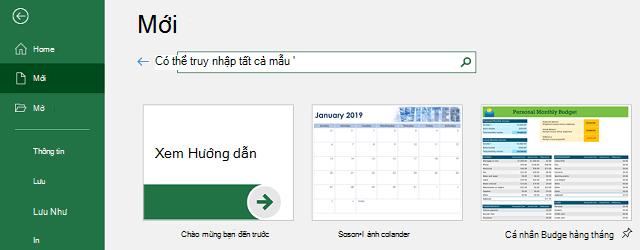 Tab mới của menu Tệp, với trường tìm kiếm mẫu trực tuyến đang được sử dụng