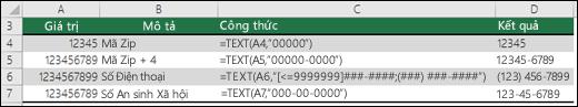 Các định dạng đặc biệt cho hàm TEXT