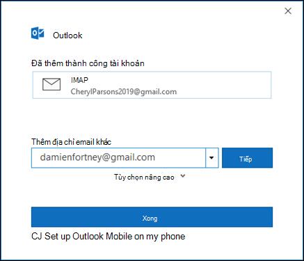 Chọn xong để hoàn tất việc thiết lập tài khoản Gmail của bạn.