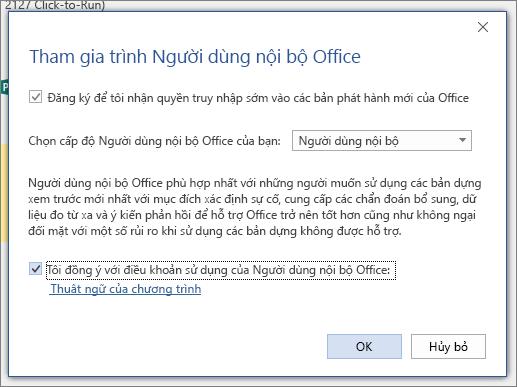 Hộp thoại tham gia người dùng nội bộ Office
