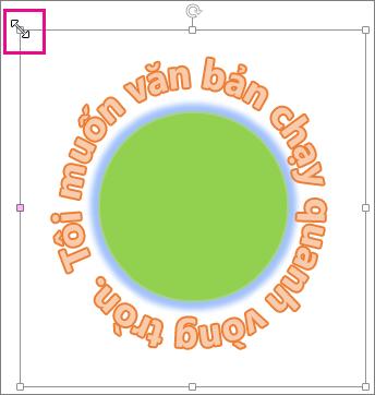 Núm điều khiển đổi cỡ trên WordArt được dùng để đổi kích cỡ cho nó