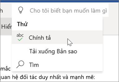 Cho Tôi Biết trong Word Online