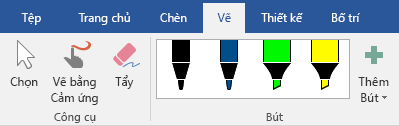Bút và bút tô sáng trên tab vẽ trong Office 2019