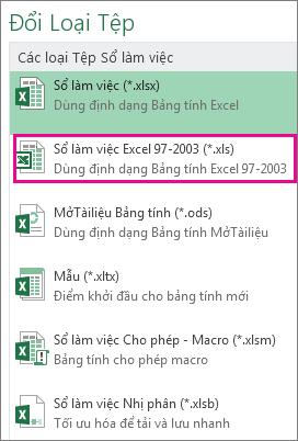 Định dạng Sổ làm việc Excel 97-2003