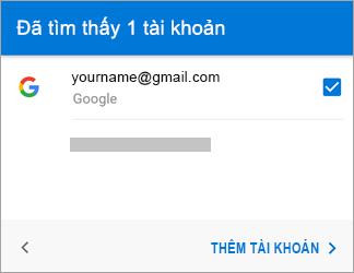 Nhấn vào Thêm tài khoản để thêm tài khoản Gmail của bạn vào ứng dụng