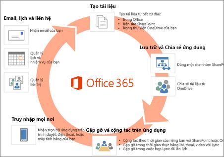 Office 365 bao gồm đầy đủ các ứng dụng và dịch vụ
