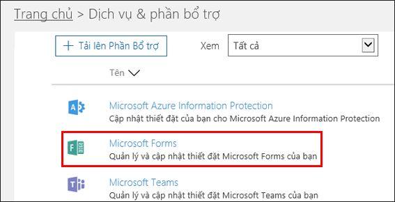 Thiết đặt quản trị Microsoft Forms