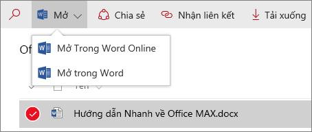 Ảnh chụp màn hình menu Mở trong thư viện tài liệu trải nghiệm mới.