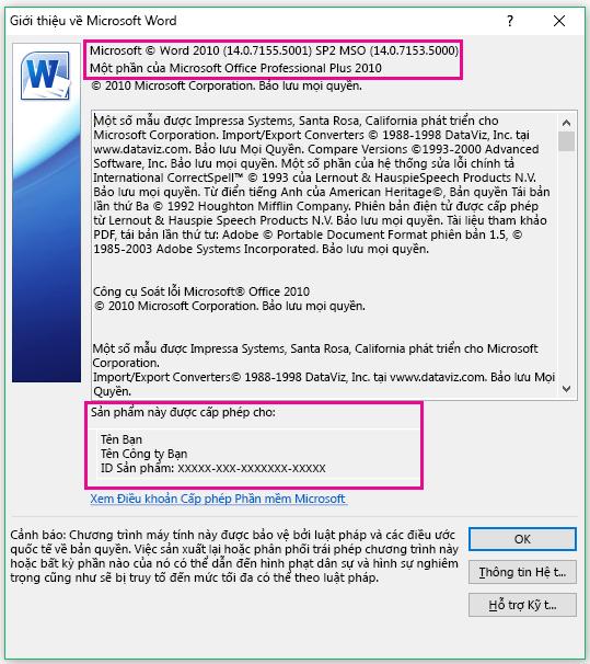 Cửa sổ Giới thiệu về Word 2010