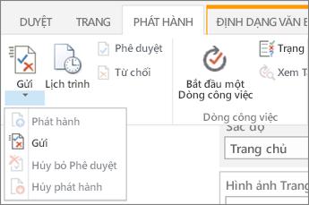 Gửi, phát hành các nút trên tab phát hành trong chế độ chỉnh sửa.