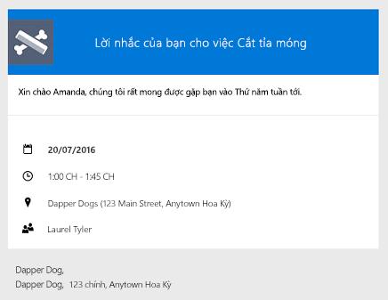 Ví dụ về một lời nhắc được chuyển đến khách hàng qua email