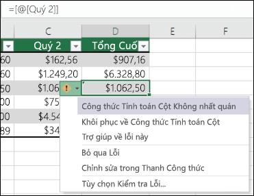 Thông báo lỗi công thức không nhất quán trong bảng Excel