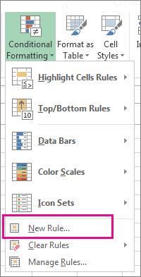 Nút Định dạng có điều kiện trên tab Trang đầu