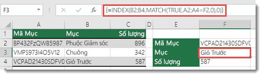 Nếu bạn đang sử dụng hàm INDEX/MATCH khi có một giá trị tra cứu lớn hơn 255 ký tự cần nhập dưới dạng công thức Mảng.  Công thức trong ô F3 là =INDEX(B2:B4;MATCH(TRUE;A2:A4=F2;0);0) và được nhập bằng cách nhấn Ctrl+Shift+Enter