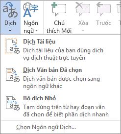 Công cụ dịch sẵn dùng trong các chương trình Office