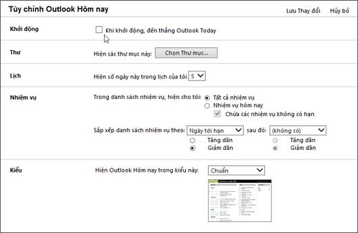 """Ảnh chụp màn hình của ngăn tùy chỉnh Outlook hôm nay trong Outlook, Hiển thị các tùy chọn sẵn dùng cho khởi động, thư, lịch, nhiệm vụ và kiểu. Con chạy điểm vào hộp kiểm cho """"Khi khởi động, hãy đi trực tiếp vào Outlook hôm nay""""."""