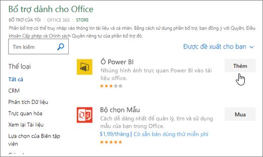 Ảnh chụp màn hình của trang Office bổ trợ, nơi bạn có thể chọn hoặc tìm kiếm bổ trợ cho Excel.