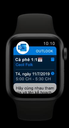 Apple Watch Hiển thị cuộc hẹn lịch Outlook sắp tới
