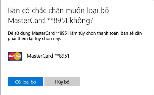 Trang xác minh loại bỏ thẻ tín dụng.