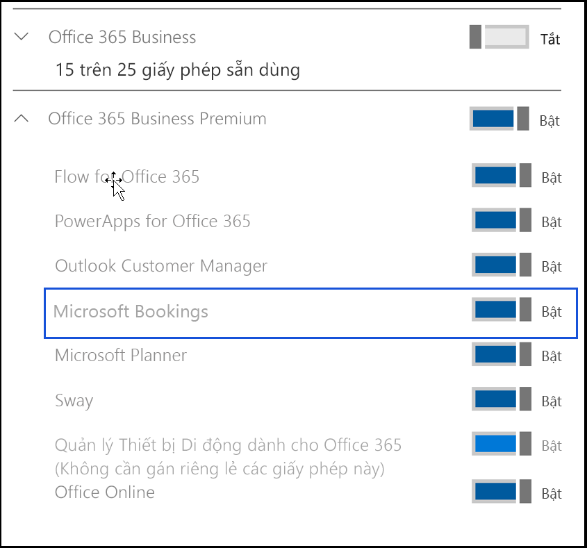 Ảnh chụp màn hình hiển thị thiết đặt Microsoft Bookings để bị tắt trong giấy phép sản phẩm của người dùng.