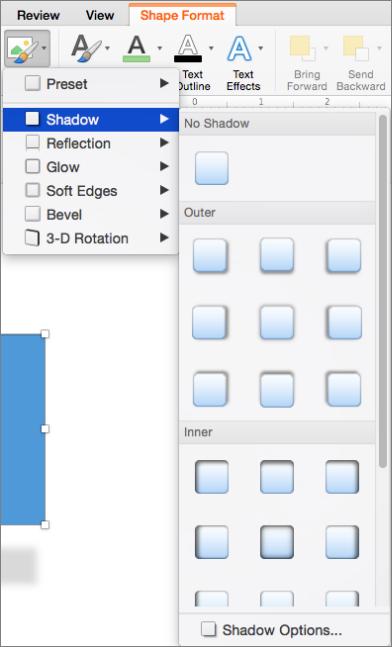 Các tùy chọn đổ bóng trên menu hiệu ứng hình dạng