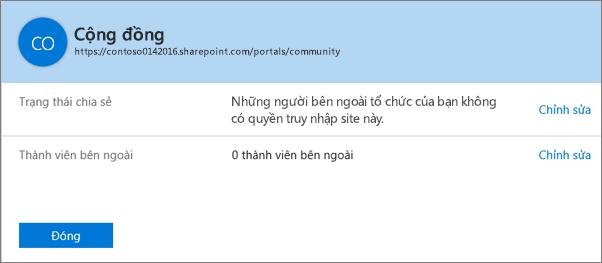 Hộp thoại trạng thái chia sẻ cho một tuyển tập site cụ thể với tính năng chia sẻ đã tắt.