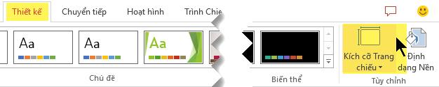 Nút kích cỡ trang chiếu nằm ở phía ngoài cùng bên phải của tab thiết kế của dải băng thanh công cụ